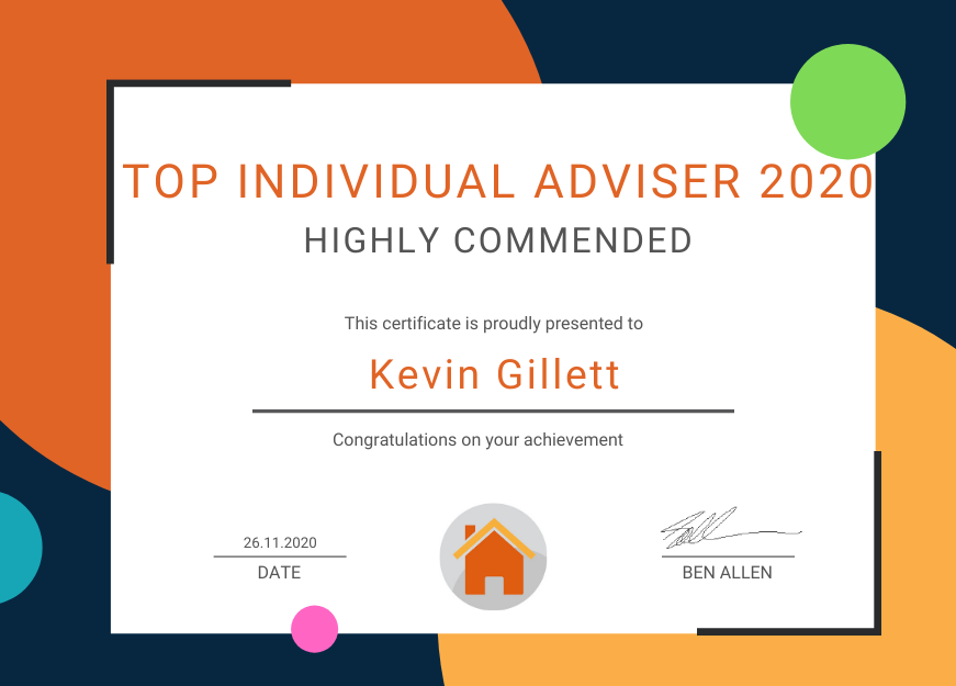 Certificate for Top Individual Adviser Highly Commended - Kevin Gillett